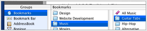 GUI mockup depicting a new Bookmark management layout